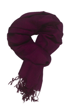 In-Sattva Colors - Woven Checkered Print Solid Color Scarf Stole - Plum