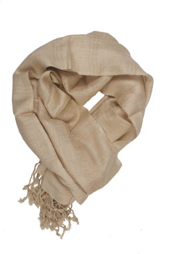 In-Sattva Colors - Woven Checkered Print Solid Color Scarf Stole - Beige