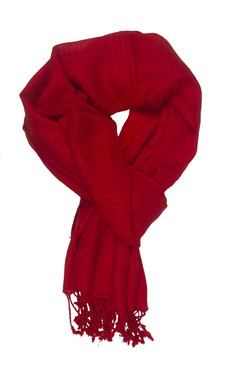 In-Sattva Colors - Woven Checkered Print Solid Color Scarf Stole - Red