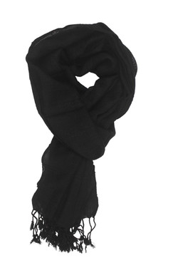 In-Sattva Colors - Woven Checkered Print Solid Color Scarf Stole - Black