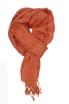In-Sattva Colors - Woven Checkered Print Solid Color Scarf Stole - Peach