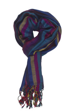 In-Sattva Colors - Vertical Stripes Scarf Stole Wrap - Blue