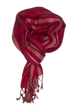In-Sattva Colors - Vertical Stripes Scarf Stole Wrap - Red