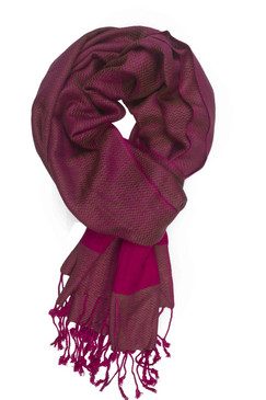In-Sattva Colors - Two tone Horizontal Stripes Scarf Stole - Pink