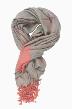 In-Sattva Colors - Two tone Horizontal Stripes Scarf Stole - Peach