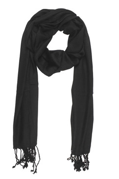 In-Sattva Colors - Soft and Elegant Solid Color Scarf Stole - Black