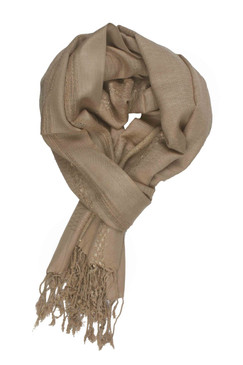 In-Sattva Colors - Decorative Border Scarf Stole Wrap - Beige
