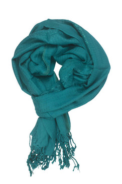 In-Sattva Colors - Decorative Border Scarf Stole Wrap - Teal