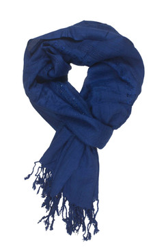 In-Sattva Colors - Decorative Border Scarf Stole Wrap - Blue
