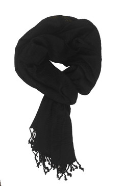 In-Sattva Colors - Decorative Border Scarf Stole Wrap - Black