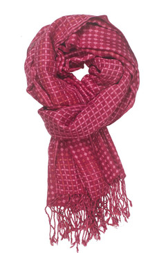 In-Sattva Colors - Vertical and Horizontal Stripe Multi Color Scarf Stole - Cerise