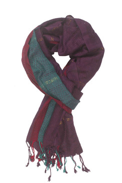 In-Sattva Colors - Vertical and Horizontal Stripe Rich Color Block Scarf Stole - Teal