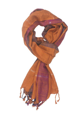 In-Sattva Colors - Vertical and Horizontal Stripe Rich Color Block Scarf Stole - Orange