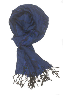 In-Sattva Colors - Zigzag Patterned Stripe Scarf Stole - Navy