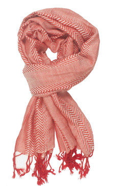 In-Sattva Colors - Zigzag Patterned Stripe Scarf Stole - Red