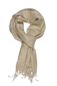 In-Sattva Colors - Zigzag Patterned Stripe Scarf Stole - Off White
