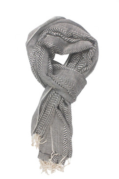 In-Sattva Colors - Zigzag Patterned Stripe Scarf Stole - Grey