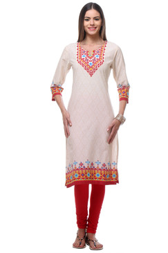 In-Sattva Women's Diamond Patterned Kurta Tunic with Printed Yoke