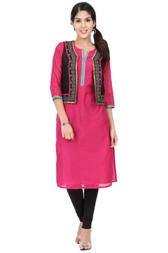 Women's Indian Pink Straight Kurta Tunic With Black Vest