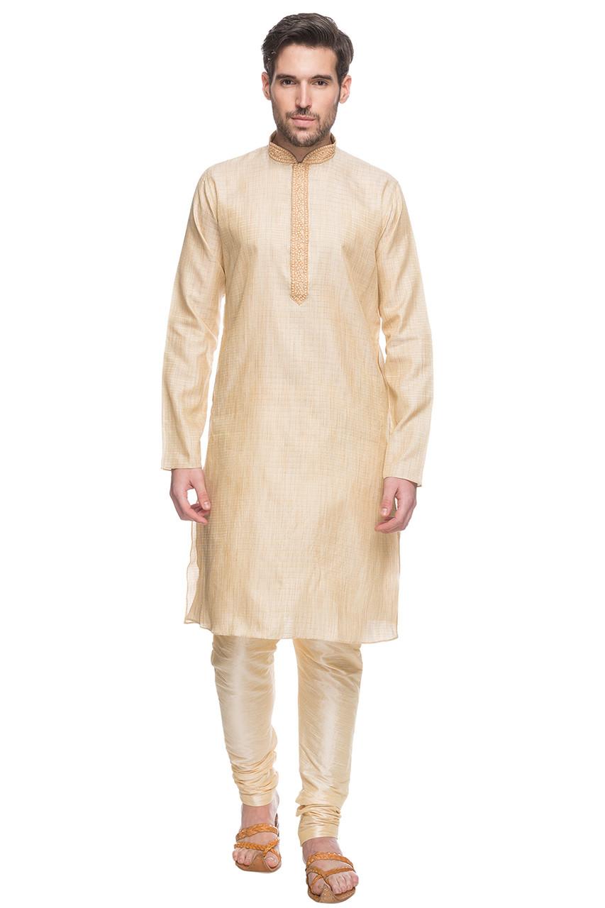 2e8bbf7a2c4 Men's Indian Beige Kurta Tunic Pajama Set With Embroidery