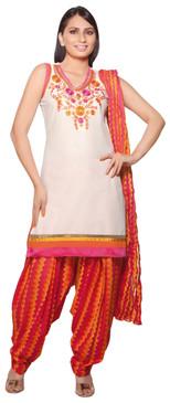 Trishaa Women's Salwaar Kameez Set with Embroidered Yoke - Front