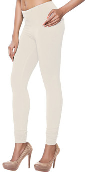 Women's Indian Solid Off-White Churidar Leggings