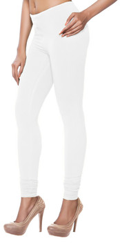 Women's Indian Solid White Churidar Leggings