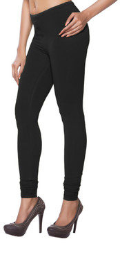 Women's Indian Solid Black Churidar Leggings