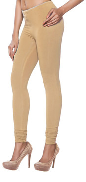 Women's Indian Solid Beige Churidar Leggings