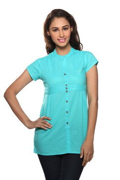Women's Bias Pintucked Kurti Turquois
