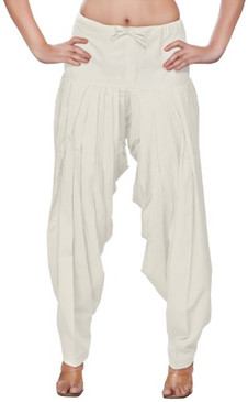Womens Indian Ethnic Bottomwear Patiala Pants-Off White