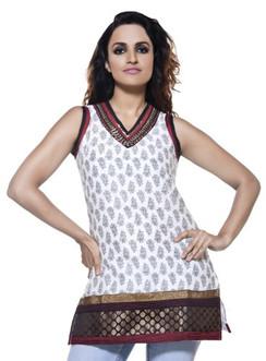 æWomens Indian Ethnic Sleeveless Embroidered Kurta Tunic Off White