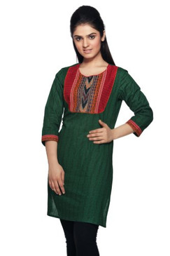 Women's Indian MixNMatch Kurta Tunic Green