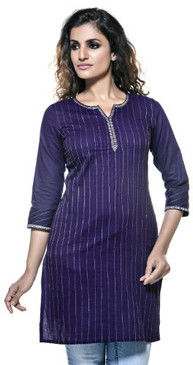 Womens Indian Ethnic Embroidered Neck & Sleeve Casual Kurta Tunic