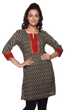 Women's Indian MixNMatch Printed Kurta Black