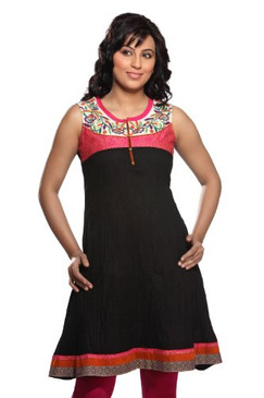 Women's Indian Kurta Tunic Black