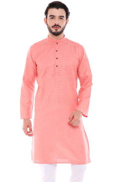 In-Sattva Men's Indian Classic Textured Pure Cotton Kurta Tunic with Band Collar