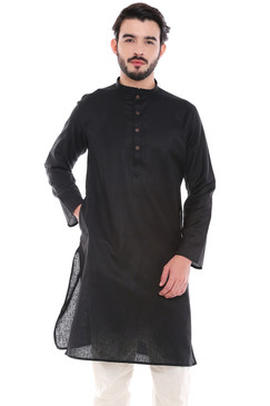 In-Sattva Men's Indian Classic Textured Pure Cotton Kurta Tunic with Band Collar Black