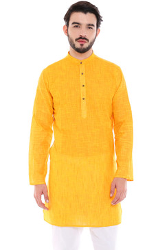In-Sattva Men's Indian Classic Pure Cotton Kurta Tunic with Mandarin Collar Yellow