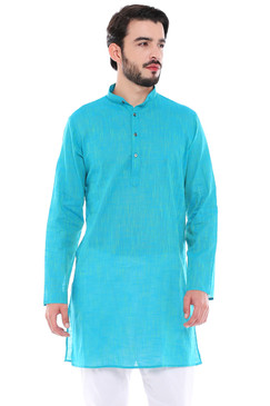 In-Sattva Men's Indian Classic Pure Cotton Kurta Tunic with Mandarin Collar Teal