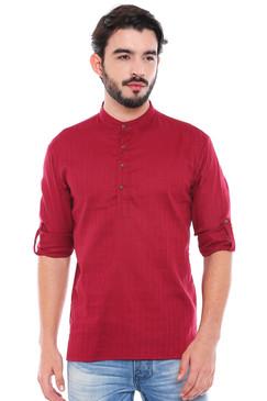 In-Sattva Men's Mandarin Collar Henley Style Short Fitted Kurta Tunic