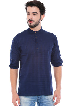 In-Sattva Men's Mandarin Collar Henley Style Short Fitted Kurta Tunic Navy