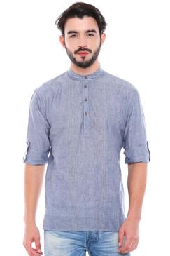 In-Sattva Men's Mandarin Collar Henley Style Short Fitted Kurta Tunic Grey