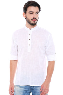 In-Sattva Men's Mandarin Collar Henley Style Short Fitted Kurta Tunic White