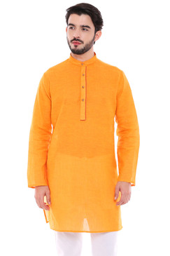 Men's Indian Classic Mustard Kurta Tunic - Front | In-Sattva
