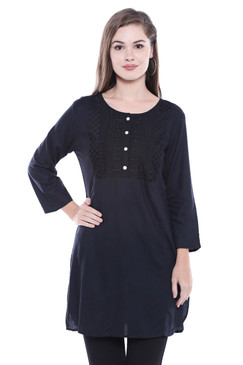 Women's Indian Short Kurta Tunic - Black | In-Sattva - Front
