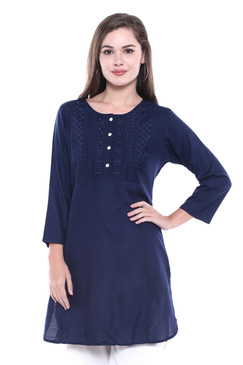 Women's Indian Short Kurta Tunic - Navy Blue | In-Sattva