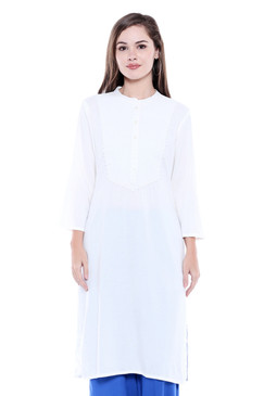 Women's Indian Patterned Yoke White Kurta Tunic | In-Sattva