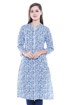 Women's Indian Kurta Tunic - Aqua Blue | In-Sattva