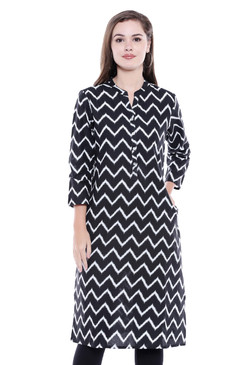 Women's Indian Cotton Kurta Tunic -with Zig-Zag Print | In-Sattva